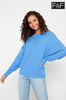 F&F Blue Button Shoulder Batwing Jumper