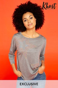 חולצת טי עם רקמת כוכב ושרוולי3/4 בצבע אפור של Khost