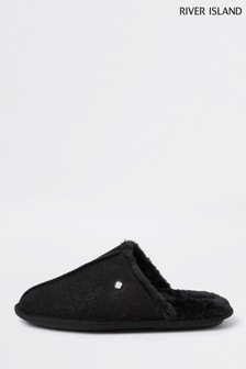 River Island Black Monogram Mule Slipper