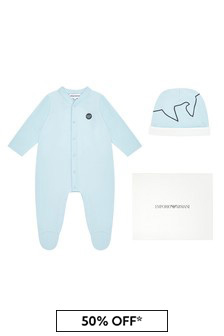 Emporio Armani Baby Blue Babygrow And Hat Gift Set