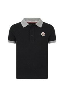 Moncler Enfant Boys Black Cotton Polo Top