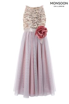 Monsoon Pink Truth Sequin Maxi Dress