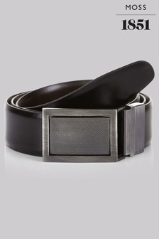 Moss 1851 Black/Brown 4-In-1 Bonded Leather Reversible Belt