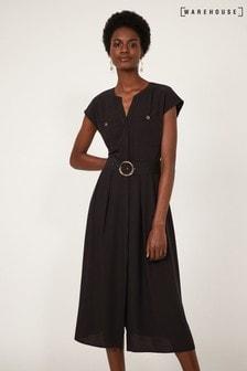 Warehouse Black Horn Ring Belted Midi Dress