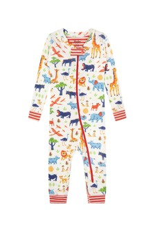 Hatley Kids & Baby Baby Boys Cream Wild Safari Organic Cotton Coverall