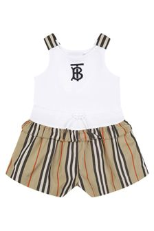Burberry Kids Baby Girls Beige Cotton Playsuit