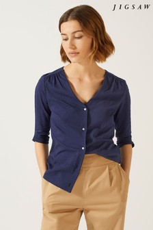 Jigsaw Jersey V-Neck Button Blouse