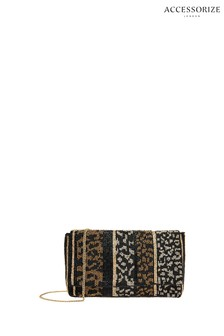 Accessorize Black Lina Leopard Beaded Clutch Bag