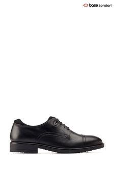 Base London® Black Raven Cap Toe Derby Shoes