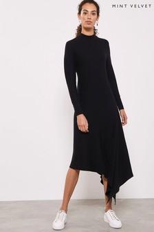 Mint Velvet Black Asymmetric Hem Dress