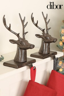 Pair Of Stag Bust Christmas Stocking Holders by Dibor