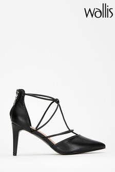 Wallis Clayton Black Open Strappy Pointed Courts