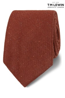 T.M. Lewin Barberis Orange Flecked Wool And Silk Slim Tie