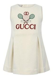 Baby Girls White Cotton Sleeveless Tennis Dress