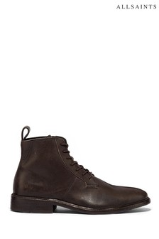 AllSaints Black Leven High Top Lace-Up Calf Boots