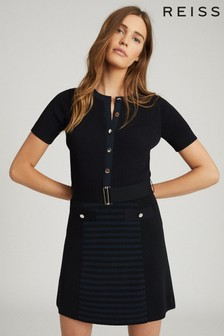 Reiss Blue Kate Belted Knitted Dress