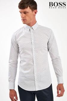 BOSS White Mabsoot Desk Lamp Print Shirt