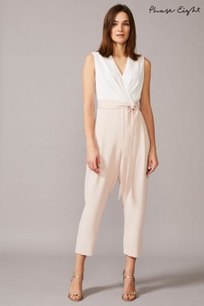 Phase Eight Neutral Andie Wrap Jumpsuit