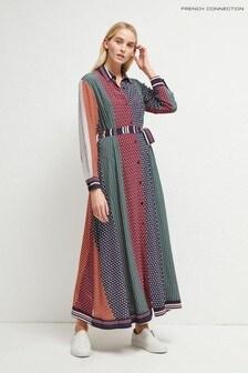 French Connection Green Claudina Drape Midi Dress