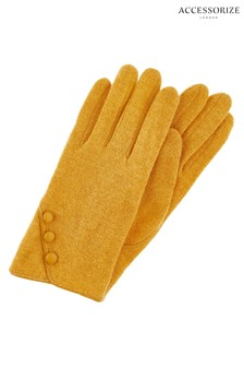 Accessorize Tan Wool Gloves With Buttons