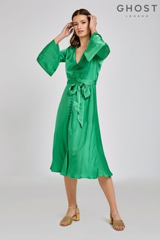 Ghost London Green Annabelle Satin Dress