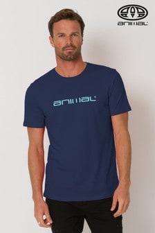 "Classico T-Shirt mit ""Animal""-Schriftzug, indigoblau"