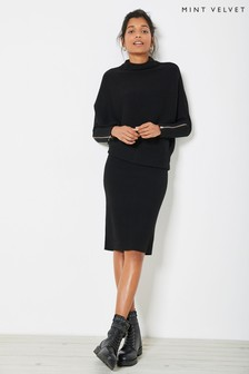 Mint Velvet Black Funnel Neck Jumper Dress