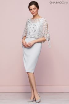 Gina Bacconi Silver Pearle Dress And Lace Overtop