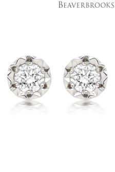 Beaverbrooks 9ct White Gold Diamond Stud Earrings