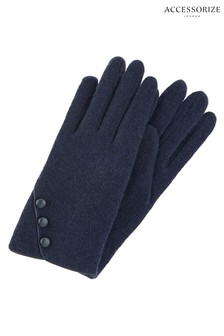 Accessorize Blue Wool Gloves With Buttons