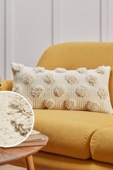 Textured Pom Pom Rectangle Cushion