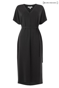 Warehouse Black Modal V-Neck Midi Kaftan Dress