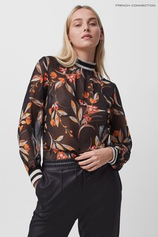 French Connection Black Eliva Crinkle High Neck Top