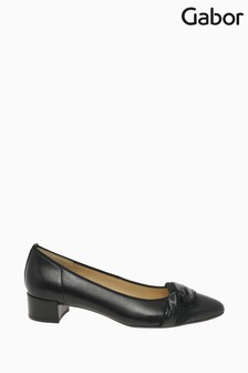 Gabor Prince Black Leather Dress Court Shoes