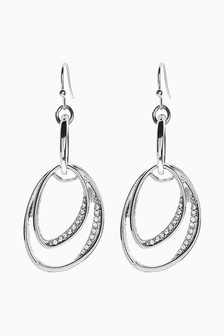 Ellipse Sparkle Drop Earrings