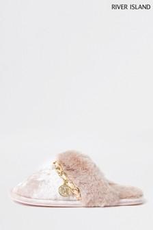 River Island Pink Velvet Chain Trim Slippers