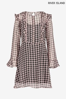 River Island Pink Dogtooth Dawson Dress