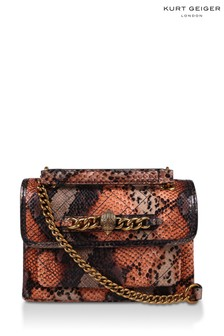 Kurt Geiger London Orange Leather Small Chelsea Print Bag
