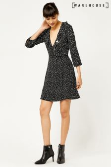Warehouse Black Ditsy Star Ruffle Wrap Dress