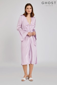 Ghost London Purple Annabelle Satin Dress