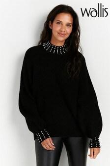 Wallis Black Pearl Embellished Jumper