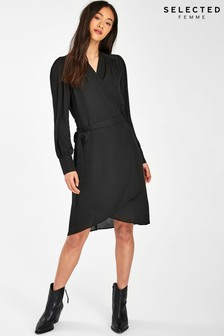 Selected Femme Black Falva Wrap Dress