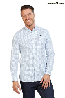 Raging Bull White Long Sleeve Circle Geo Poplin Shirt