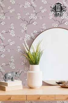 Art For The Home Pink Fresco Apple Blossom Wallpaper