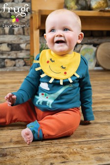 Frugi Organic Dinosaur Appliqué Top And Bib Set