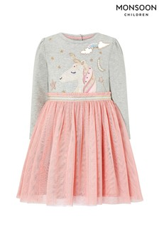 Monsoon Children Pink Baby Unicorn Sparkle Disco Dress