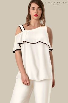 Live Unlimited White Ruffle Sleeve Top With Contrast Binding