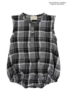 Turtledove London Black Woven Check Bubble Romper