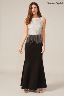Phase Eight Black Esme Beaded Fringe Dress