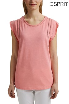 Esprit Pink T-Shirt With Frill Sleeve